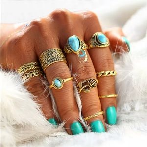 Jewelry - 10pcs Boho Turquoise Finger/Knuckle/midi Ring Set